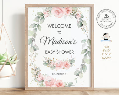 Chic Delicate Blush Pink Floral Greenery Welcome Sign Editable Template - Digital Printable File - Instant Download - WG10
