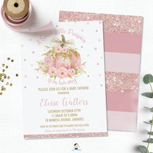 Load image into Gallery viewer, Chic Pink Pumpkin Floral Baby Shower Girl Invitation Editable Template - Instant Download - Digital Printable File - LP2