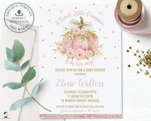 Chic Pink Pumpkin Floral Baby Shower Girl Invitation Editable Template - Instant Download - Digital Printable File - LP2