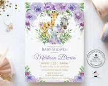 Load image into Gallery viewer, Chic Purple Floral Jungle Animals Safari Baby Shower Invitation Editable Template - Digital Printable File - Instant Download - JA8