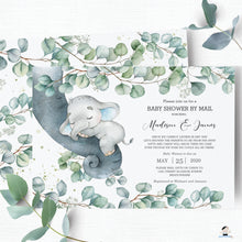 Load image into Gallery viewer, Rustic Greenery Elephant Baby Boy Shower by Mail Invitation Editable Template - Instant Dowload - Digital Printable File - EP10