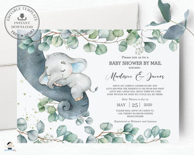 Rustic Greenery Elephant Baby Boy Shower by Mail Invitation Editable Template - Instant Dowload - Digital Printable File - EP10