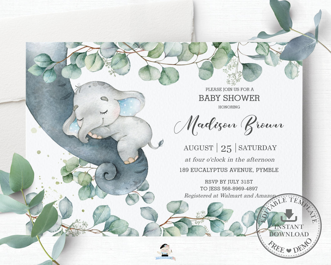 Rustic Greenery Elephant Baby Boy Shower 4