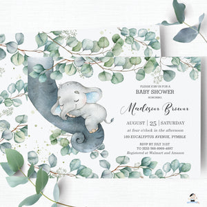 "Rustic Greenery Elephant Baby Boy Shower 4""x6"" Invitation Editable Template - Instant Dowload - Digital Printable File - EP10"