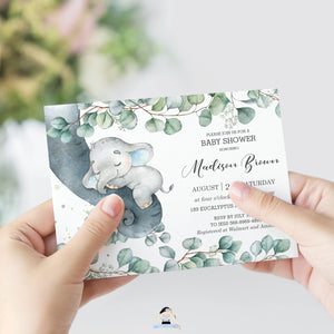 Rustic Greenery Elephant Baby Boy Shower Invitation Editable Template - Instant Dowload - Digital Printable File - EP10
