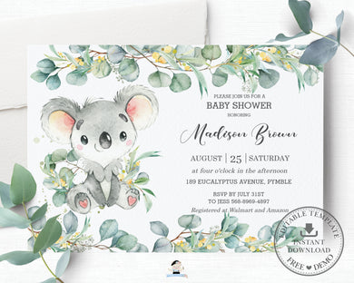 Cute Koala Eucalyptus Greenery Baby Shower Invitation Editable Template - Instant Dowload - Digital Printable File - AU2