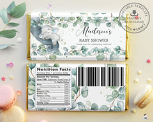 Load image into Gallery viewer, Rustic Greenery Elephant Baby Shower Chocolate Bar Wrapper for Aldi Hershey's Editable Template - Instant Download - EP10
