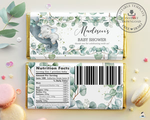 Rustic Greenery Elephant Baby Shower Chocolate Bar Wrapper for Aldi Hershey's Editable Template - Instant Download - EP10