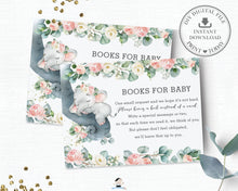 Load image into Gallery viewer, Pink Floral Greenery Elephant Baby Shower Bring a Book Instead of a Card Inserts - Instant Download - EP11