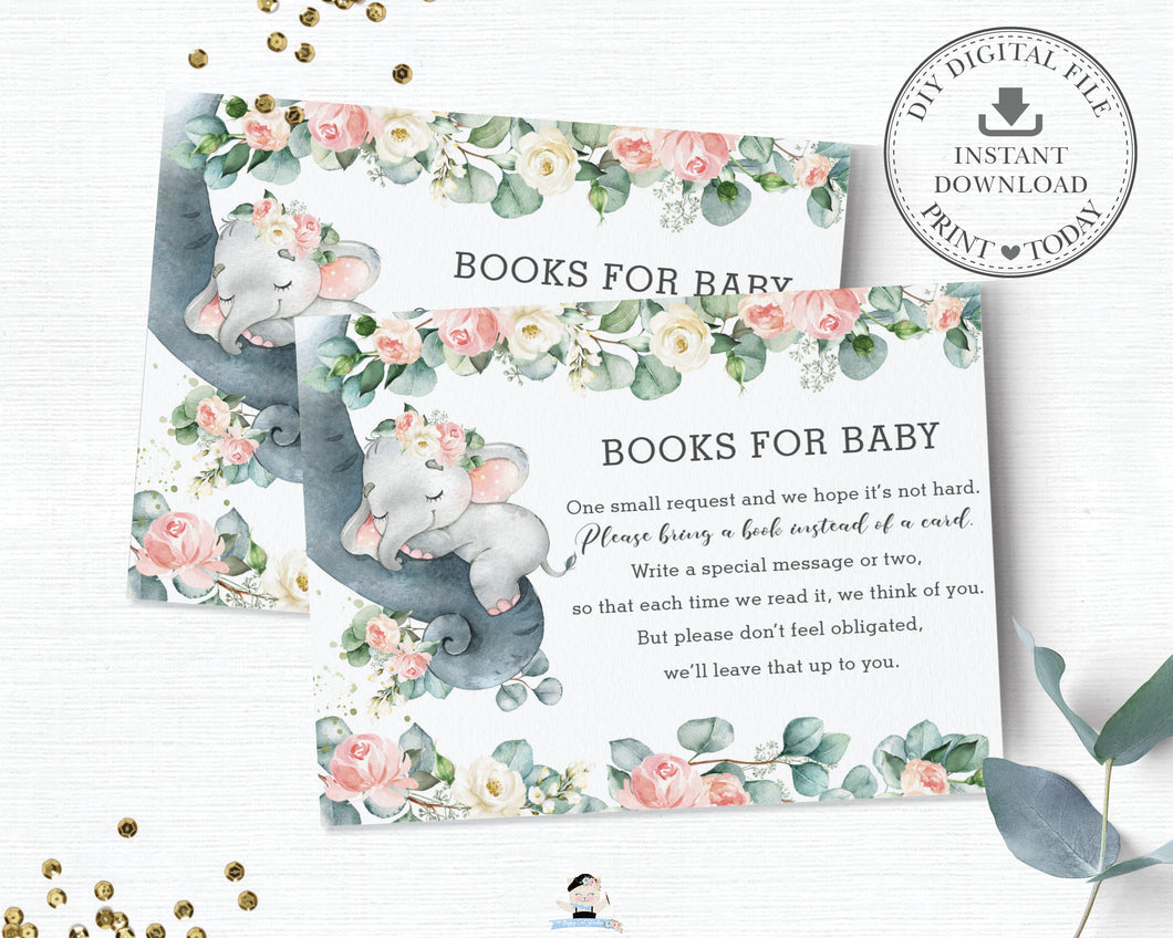 Pink Floral Greenery Elephant Baby Shower Bring a Book Instead of a Card Inserts - Instant Download - EP11