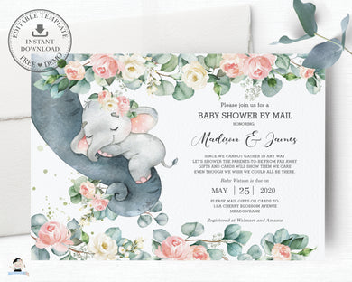 Chic Floral Greenery Elephant Baby Girl Shower by Mail Invitation Editable Template - Instant Dowload - Digital Printable File - EP11