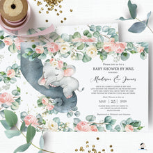 Load image into Gallery viewer, Chic Floral Greenery Elephant Baby Girl Shower by Mail Invitation Editable Template - Instant Dowload - Digital Printable File - EP11