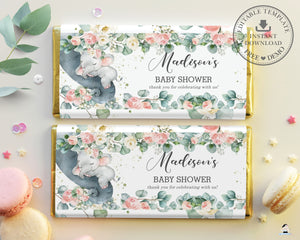Pink Floral Greenery Elephant Baby Shower Chocolate Bar Wrapper for Aldi Hershey's Editable Template - Instant Download - EP11