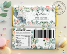 Load image into Gallery viewer, Pink Floral Greenery Elephant Baby Shower Chocolate Bar Wrapper for Aldi Hershey's Editable Template - Instant Download - EP11