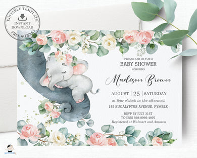 Chic Floral Greenery Elephant Baby Girl Shower Invitation Editable Template - Instant Dowload - Digital Printable File - EP11