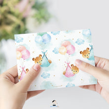 Load image into Gallery viewer, Teddy Bears Baby Shower by Mail Invitation Twins Baby Boy and Girl Long Distance Virtual Shower - Editable Template - Instant Download - TB5