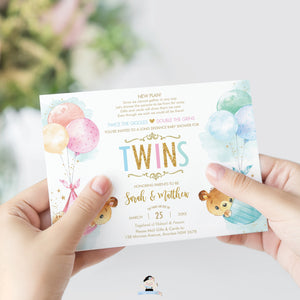 Teddy Bears Baby Shower by Mail Invitation Twins Baby Boy and Girl Long Distance Virtual Shower - Editable Template - Instant Download - TB5