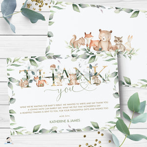 Greenery Woodland Animals Baby Shower Birthday Thank You Card Editable Template - Digital Printable File - Instant Download - WG12