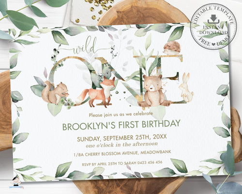Chic Woodland Animals Greenery ONE 1st Birthday Invitation Editable Template - Digital Printable File - Instant Download - WG12