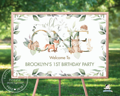 Chic Woodland Greenery 1st Birthday Wild One Welcome Sign 24