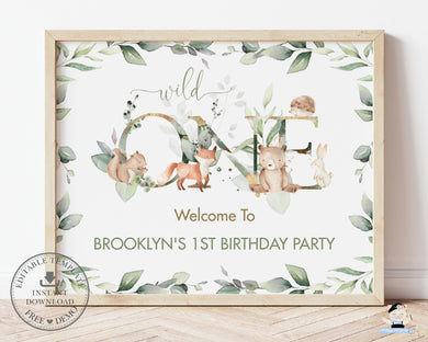 Chic Woodland Greenery 1st Birthday Wild One Welcome Sign A1 Editable Template - Digital Printable File - Instant Download - WG12