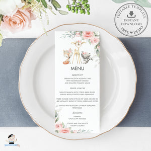 Woodland Pink Floral Greenery Lunch Dinner Menu Editable Template - Digital Printable File - Instant Download - WG10