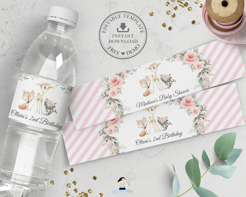 Chic Pink Floral Greenery Woodland Animals Water Bottle Label Wrapper Editable Template - Digital Printable File - Instant Download - WG10