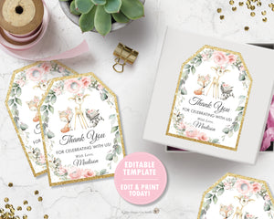 Chic Floral Greenery Woodland Thank You Favor Tags Editable Template - Digital Printable File - Instant Download - WG10
