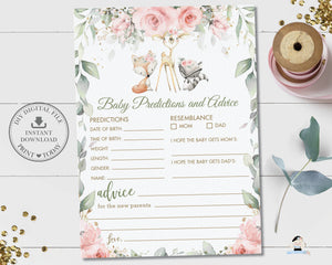 Pink Floral Greenery Woodland Animals Baby Predictions and Advice Activity Game - Instant Download Digital Printable File - WG10