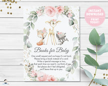 Load image into Gallery viewer, Chic Pink Floral Greenery Woodland Animals Bring a Book Instead of a Card Instant Download - Digital Printable File - WG10