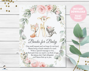 Chic Pink Floral Greenery Woodland Animals Bring a Book Instead of a Card Instant Download - Digital Printable File - WG10