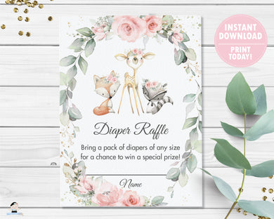 Chic Pink Floral Greenery Woodland Animals Diaper Raffle Cards Baby Shower - Instant Download - Digital Printable File - WG10