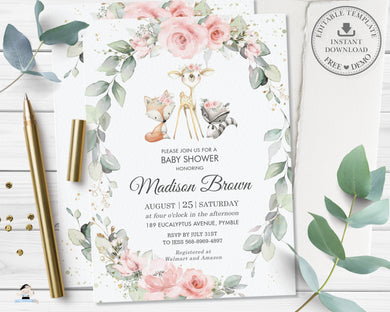 Chic Floral Greenery Woodland Animals Baby Shower Invitation - Editable Template - Digital Printable File Instant Download - WG10