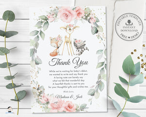 Woodland Pink Floral Greenery Thank You Note Card Editable Template - Digital Printable File - Instant Download - WG10