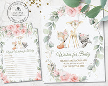 Load image into Gallery viewer, Pink Floral Greenery Woodland Animals Baby Shower Wishes for Baby Sign and Card Game Activity - Instant Download Digital Printable File - WG10