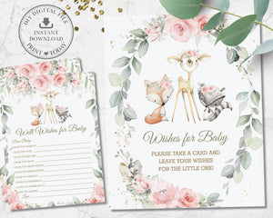 Pink Floral Greenery Woodland Animals Baby Shower Wishes for Baby Sign and Card Game Activity - Instant Download Digital Printable File - WG10
