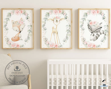 Set of 3 Whimsical Floral Greenery Woodland Animals Nursery Wall Art Deer Fox Raccoon - Digital Printable File - Instant Download - WG10