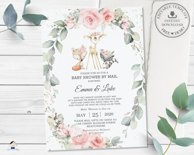 Pastel Floral Greenery Woodland Animals Baby Shower by Mail Invitation - Editable Template - Digital Printable File Instant Download - WG10