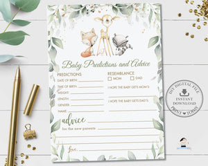 Rustic Greenery Woodland Animals Baby Predictions and Advice Baby Shower Activity - Digital Printable File - Instant Download - WG11
