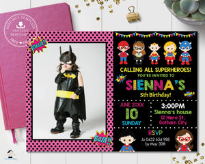 Superhero Girl Birthday Party Photo Invitation - Editable Template - Digital Printable File - Instant Download - HP1