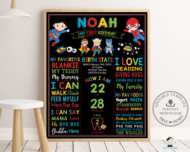 Cute Superhero 1st Birthday Milestone Sign Editable Template - Instant Download - Digital Printable File - HP1