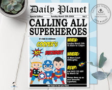 Load image into Gallery viewer, Superhero Boys Comic Birthday Daily Planet Invitation - Editable Template - Digital Printable File - Instant Download - HP2