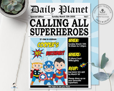 Superhero Boys Comic Birthday Daily Planet Invitation - Editable Template - Digital Printable File - Instant Download - HP2