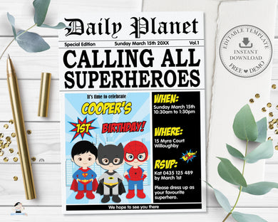 Cute Superhero Birthday Party Invitation Editable Template - Digital Printable File - Instant Download - HP2