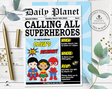 Superhero Boys Girls Daily Planet Newspaper Style Invitation Editable Template - Digital Printable File - Instant Download - HP2