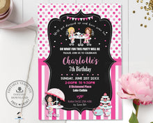 Load image into Gallery viewer, Cute Girls Tea Party Birthday Invitation Editable Template - Instant Download - Digital Printable File