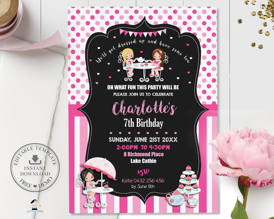 Cute Girls Tea Party Birthday Invitation Editable Template - Instant Download - Digital Printable File