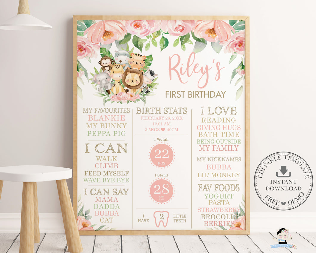 Cute Jungle Animals Pink Floral 1st Birthday Milestone Sign Birth Stats Editable Template - Instant Download - Digital Printable File - JA3
