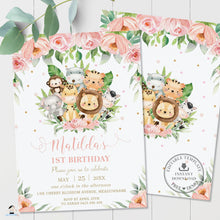 Load image into Gallery viewer, Cute Pink Floral Jungle Animals 1st Birthday Invitation - Editable Template - Digital Printable File - Instant Download - JA3
