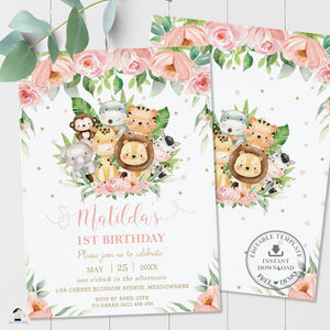 Cute Pink Floral Jungle Animals 1st Birthday Invitation - Editable Template - Digital Printable File - Instant Download - JA3